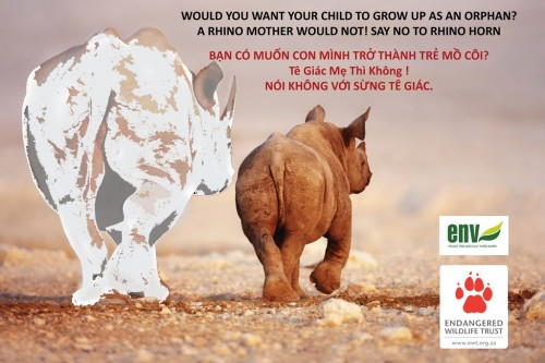 """Would you want your child to grow up as an orphan? A rhino mother would not. Say NO to rhino horn."""