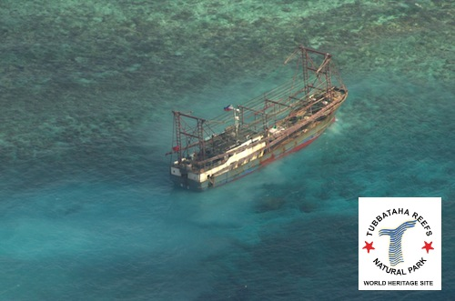 12 Chinese fishermen were arrested in the Philippines when their ship ran aground  in Tubbataha Reefs Natural Park