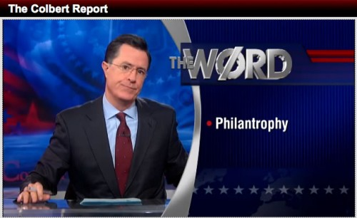 The Word - Philantrophy. Screenshot via Colbert Nation