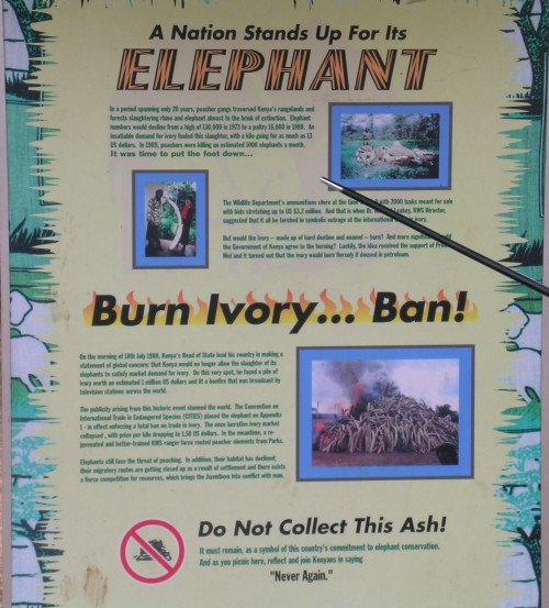 Sign at the site of the first ivory stockpile burn in Nairobi, Kenya. Photo © Sal Amato