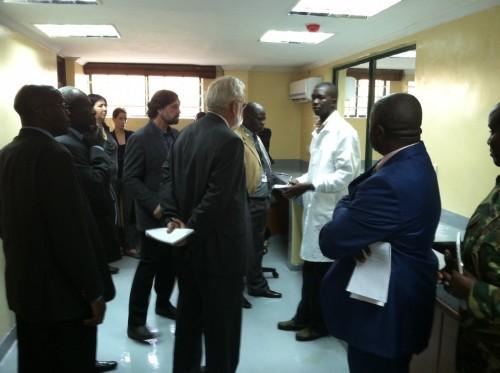 From left to right Dr. Gila Kahila Bargal, Dr. Sam Wasser, Dr. David Schindel, and Moses Otiende. Photo Credit: Sal Amato
