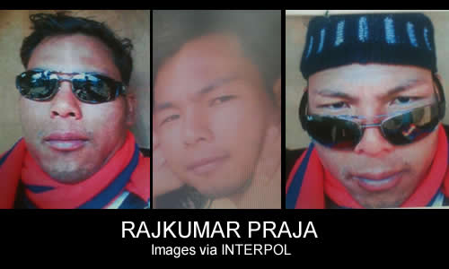 An INTERPOL Red Notice has been issued for Nepalese rhino horn trafficker Rajkumar Praja. Images via INTERPOL