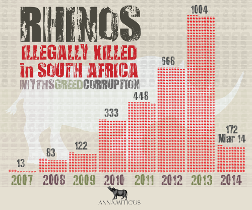 South Africa is poised to experience another deadly year of rhino killings. Image © Annamiticus