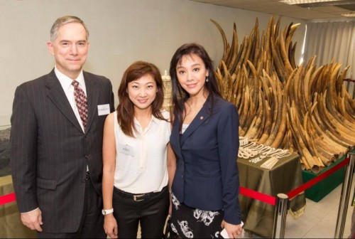U.S. Counsel General Clifford A. Hart and Iris Ho of Humane Society International with Sharon Kwok, one of Hong Kong for Elephants executive directors at the ivory burn ceremony in Hong Kong.