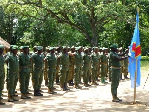 Rangers on parade to launch Operation Safisha, the intensified anti-poaching operation. Photo courtesy of African Parks.