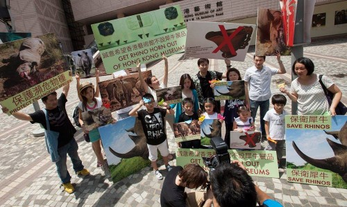"The protestors waved placards, chanted ""save our rhinos"" in English and Cantonese, and collected signatures for their petition. PHOTO: Alex Hofford"