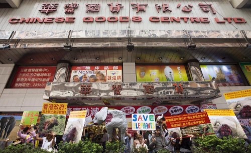 Ivory protestors outside Chinese Goods Center Ltd in Hong Kong on November, 30, 2014. PHOTO: Alex Hofford @alexhofford