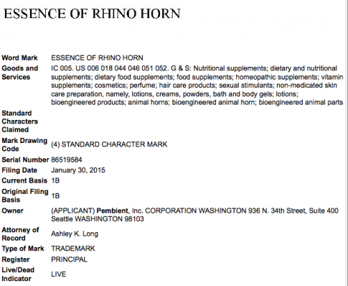 "Pembient will capitalize on demand for rhino horn with its ""essence of rhino horn"" brand. Screenshot via uspto.gov"