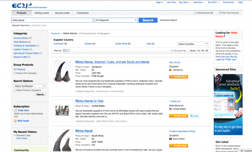 There are at least 14 advertisements for rhino horn on EC21.com, an eCommerce company based in Korea (screenshot).