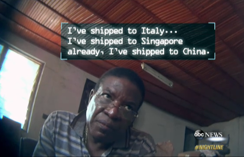 Ivory trafficker Emile N'bouke is believed to be responsible for the slaughter of 10,000 elephants. (Screenshot via ABC Nightline)