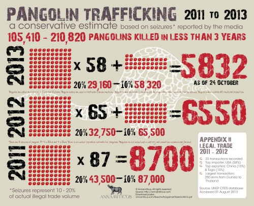 An estimated  105,410 - 210,820 pangolins have been victims of the illegal trade since 2011. Image © Annamiticus