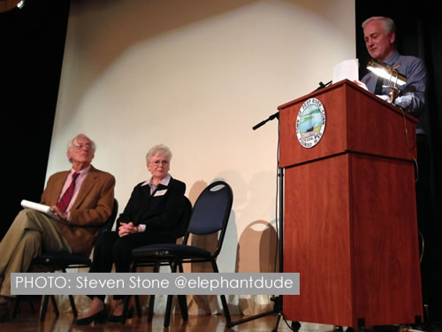 Peter Howard, Event Organizer and historian Brenda Milkofsky listening to the presentation of Herb Raffaele, Chief of the International Conservation Division of the U.S. Fish and Wildlife Service (retired) at Deep River Town Hall. Photo: Steven Stone