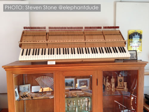 An ivory keyboard and piano action on display at the Stone House in Deep River. Photo: Steven Stone