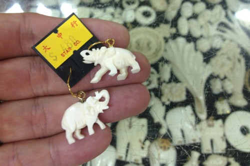 Worrisome: These earrings for sale in Hong Kong are smaller than pieces of crushed ivory created during crush events.